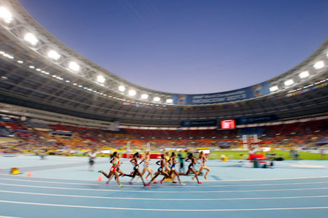 Runners competing in the women's 1500m final at the 14th IAAF World Championships at Luzhniki stadium in Moscow, Russia.