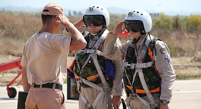 Russische Piloten auf der Militärbasis in Syrien.