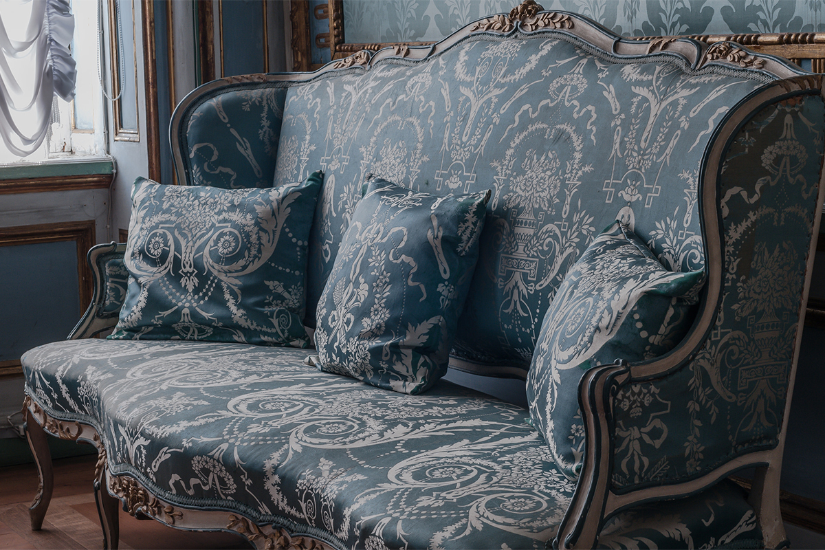 Fabric from the walls and furniture was recreated after it was lost in the 19th century.