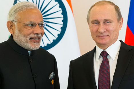 Narendra Modi and Vladimir Putin at the G20 summit in Turkey.