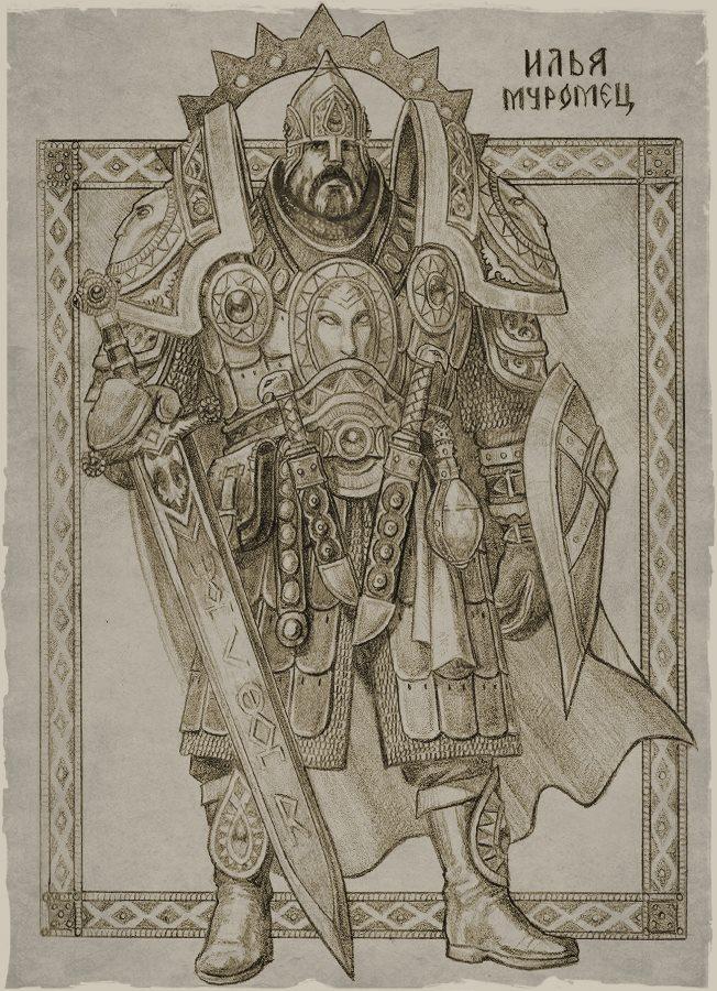 """初期のキャラクターは作画者の感情や空想に基づいたものだった。彼が最初に手がけたのは、言うまでもなく、ロシア語の叙事詩における代表的な英雄で、最も強力なボガトィーリ (戦士) のイリヤー・ムーロメツだ。「ベルトには、傷を癒やす""""死水""""が入ったボトルを引っかけている」"""