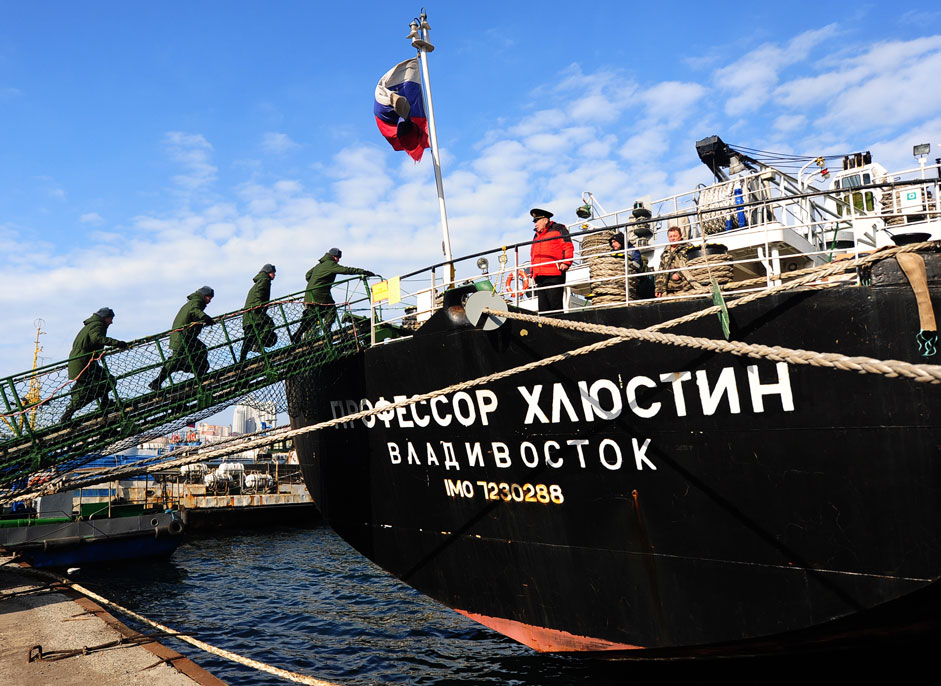 "New recruits gather before entering service on the training vessel ""Professor Hlyustin"" in Vladivostok."