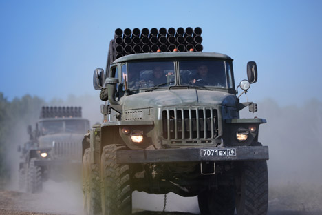 Deployment of Grad Russian multiple rocket launcher system during an exercise in missile strike and artillery fire control at the Chebarkul firing range of the Central Military District in the Chelyabinsk Region.