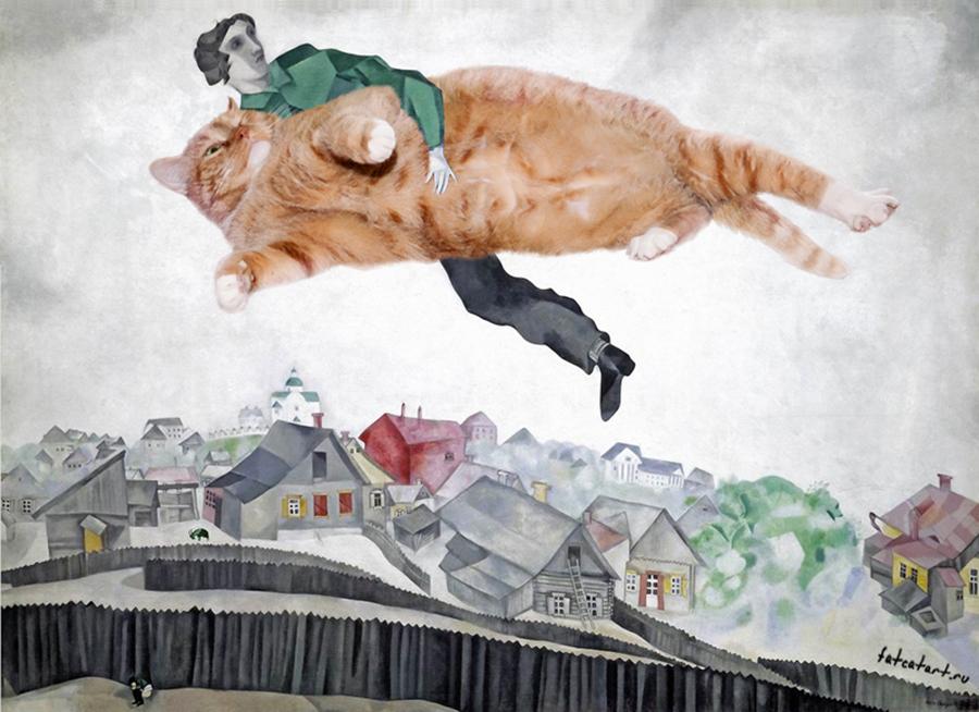 """Ако сте в Санкт Петербург, не пропускайте шанса да видите тези творби със собствените си очи. На 14 ноември в градината """"Беноа"""" в Санкт Петербург бе открита изложба с картини, вдъхновени от Заратустра. Изложбата продължава до 18 декември. / """"Над града"""" от Марк Шагал."""