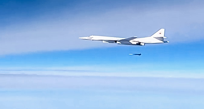A Kh-555 air-launched cruise missile is launched by a Tupolev Tu-160 supersonic strategic bomber to strike the Islamic State infrastructure facilities in Syria.