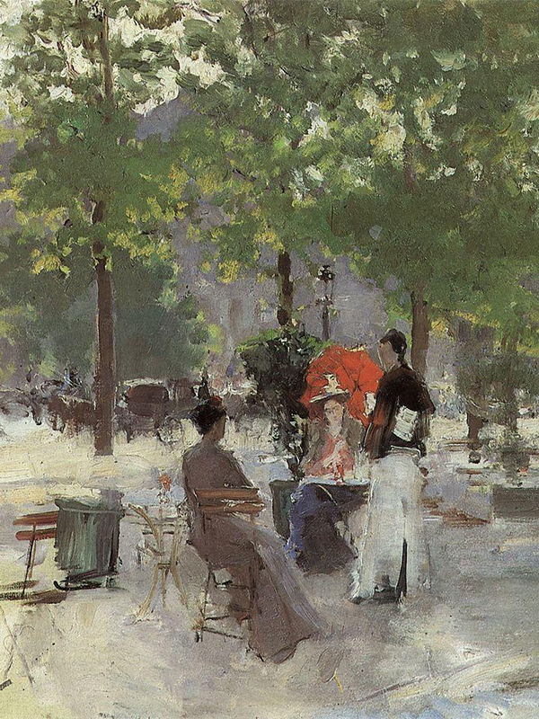 In the late 1890s Korovin produced a series of paintings depicting Paris cafes and boulevards. These works trace the successive development of the principles of impressionism. The artist is fascinated by light and air; his work transmits moist air, melting in a haze of distant plans. / Paris cafe, 1890.