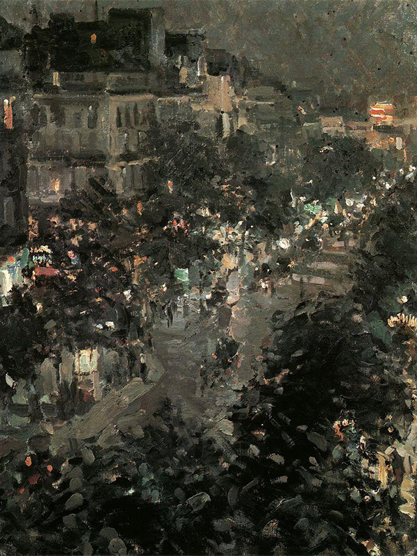Paris at Night. Boulevard des Italiens, 1908. Korovin's main themes in the 1890s were inspired by Paris. He depicts Paris boulevards at night in the shadow of yellow light or empty streets in early morning.