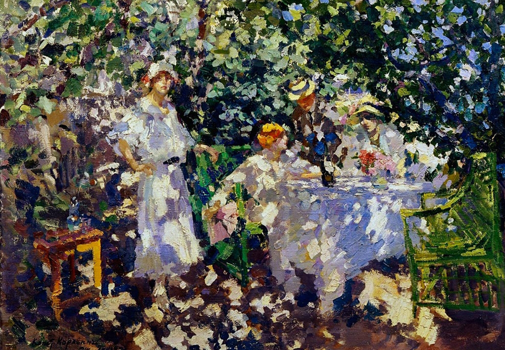 In the Garden. Gurzuf (Crimea). The scene with figures saturated with light is a favorite motif of the impressionists. In this picture, our attention is attracted not by the figures or objects, but by the vivid pattern of the colorful light and shadow spots. The faces are not distinguished from the flowers, and the green benches seem to be an extension of the leaves.