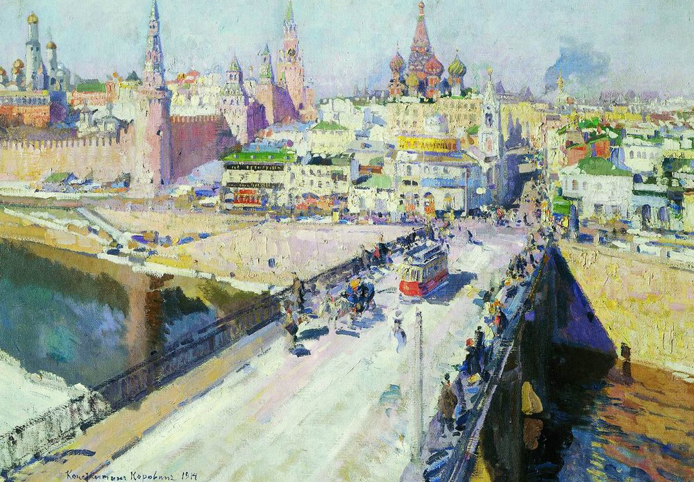 Konstantin Korovin was born on 23 November (5 December) 1861 in Moscow, where he grew up and studied art. During the First World war Konstantin Korovin worked as a camouflage consultant in the Russian army. Before that, in the 1900s he dedicated time to the theater. He worked as a stage manager for the Bolshoi Theater, the Mariinsky Theatre and La Scala. / Moscow bridge, 1914.