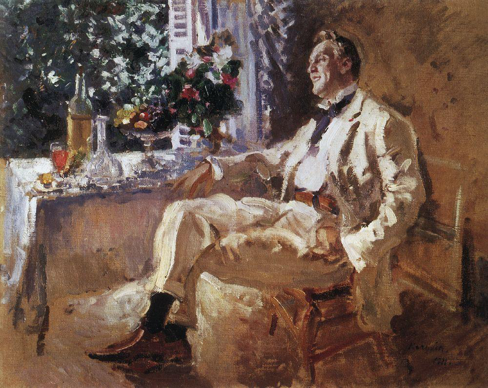 "Alexander Benoi, Russian influential artist, art critic and historian, wrote about Konstantin Korovin: ""Korovin's paintings, in which the artist was trying to achieve a single beautiful chromatic spot, naturally perplexed many people. Korovin's painting itself, his drawing technique, contributed to the impudent, careless, rude, and, for some, clumsy effect."" / Portrait of famous Russian opera singer Feodor Chaliapin, 1911."