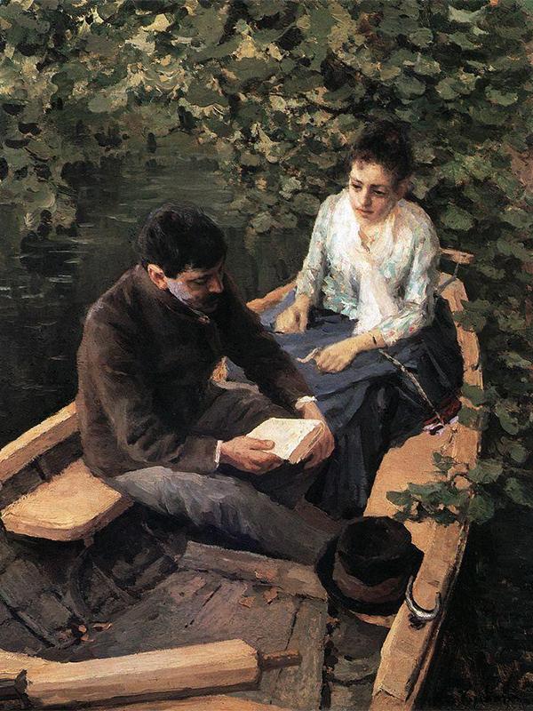 「これらの作品やその中で用いられた色彩が高度に洗練されたもので、画家が本物の芸術家であるなどとは、当時は誰も思っていなかった。」 アレクサンドル・ベノワはこう記した。/ 『ボートで』、1888年。