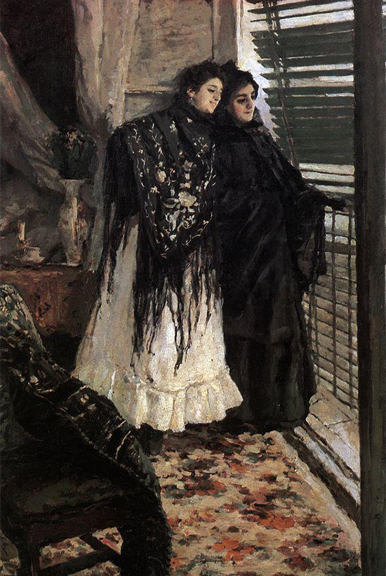 At the Balcony. Spanish Women Leonora and Ampara, 1889. One of the best paintings by Korovin. The artist received a golden medal at the Exposition Universelle of 1900 for this work. He started painting it in Spain in 1888, and finished it in Moscow in 1889.