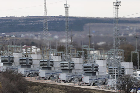 A general view shows the facilities of a mobile gas turbine generator, which was turned on due to recent power outages after pylons carrying electricity were blown up, in the settlement of Stroganovka, Simferopol, Nov. 22, 2015.