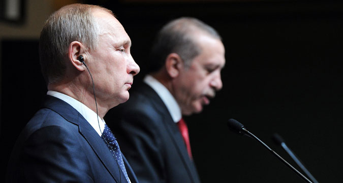 Il Presidente russo Vladimir Putin con il Presidente turco Recep Tayyip Erdogan.