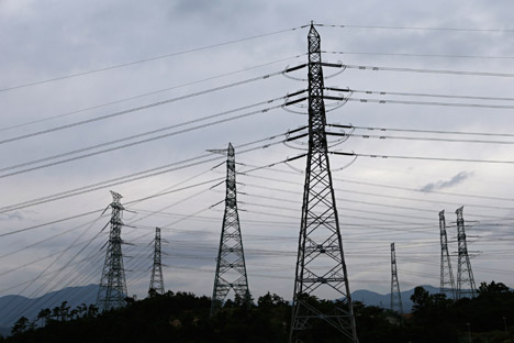Power transmission towers.