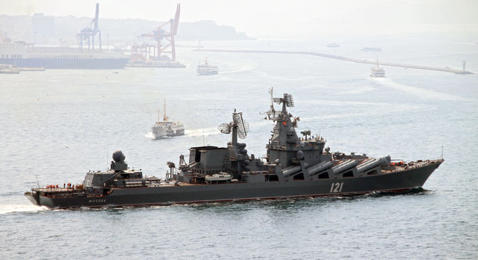 A file picture dated 07 September 2014 of The guided missile cruiser Moskva of the Russian Black Sea fleet passes through Bosporus strait 07 September 2014 near Istanbul on it's way to the Mediterranean. The Russian warship Moskva is to assist a French aircraft carrier task force in ongoing operations in Syria following Russian President Vladimir Putin's announcement on 17 November 2015 of cooperation in military strikes in that country, state media reports. French President Francois Hollande will come to Moscow for a meeting with Putin on November 26, the Kremlin said.