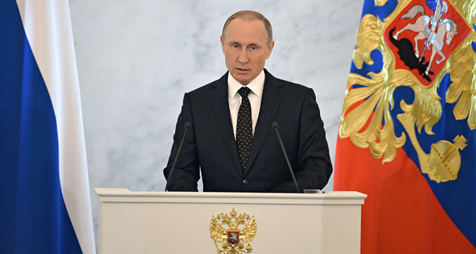 December 3, 2015. Russian President Vladimir Putin delivers his annual Presidential Address to the Federal Assembly at the Kremlin's St. George Hall.