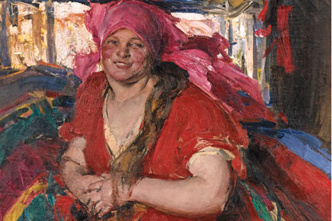 'Peasant Woman in a Red Dress' by Abram Arkhipov was the most expensive painting sold in London at this Russian Art Week.