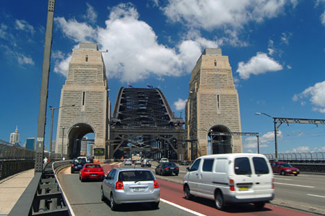 Cars crossing Harbour Bridge, Sydney, New South Wales, Australia