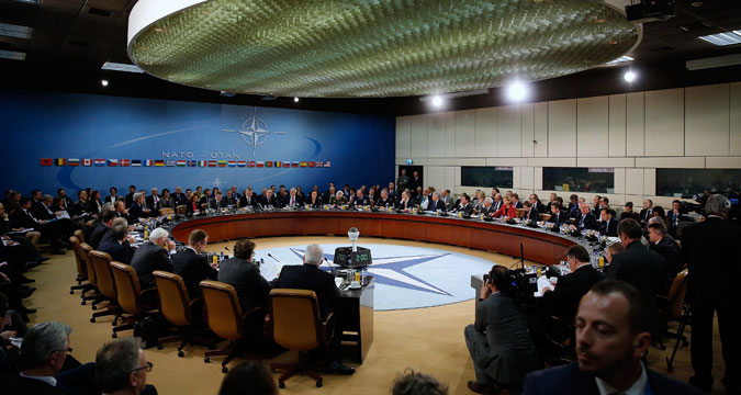 NATO foreign ministers gather for the session to formally admit Montenegro at NATO Headquarters in Brussels, Dec. 2, 2015.