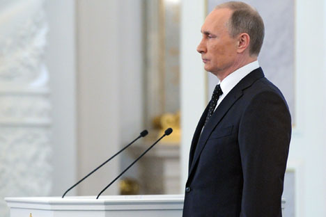 Russian President Vladimir Putin during his annual address to the Federal Assembly in St. George's Hall of the Grand Kremlin Palace in Moscow, Russia, 03 December 2015.