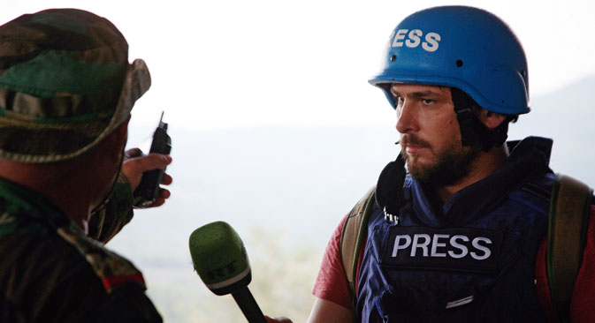 Right: Sargon Hadaya, a correspondent with Russia Today's Arab department, came under fire in Syria.