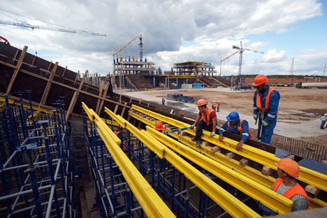 Construction of Cosmos Arena Stadium in Samara ahead of the 2018 FIFA World Cup.