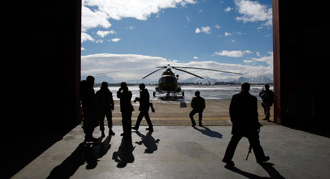 A refurbished newly arrived MI-17 helicopter is parked at the military airport in Kabul January 17, 2008.