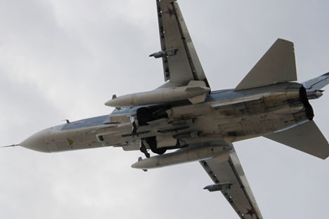 A Russian Su-24 front-line bomber jet.