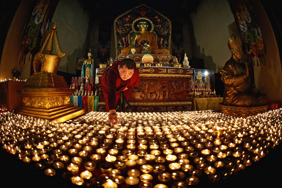 "Buddhist holiday Zula Khural (""A Festival of Thousand Candles"") celebrated in St. Petersburg's Datsan Gunzechoinei."