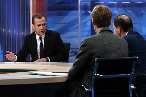 Prime Minister Dmitry Medvedev gives an interview on the work of the Russian Government to television journalists.