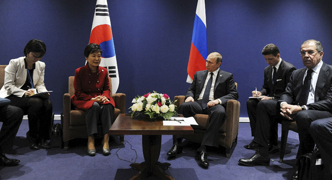 Russia's President Vladimir Putin (3rd R) meets with South Korea's President Park Geun-hye  (2nd L) on the sidelines of the World Climate Change Conference 2015 at Le Bourget, near Paris, France.