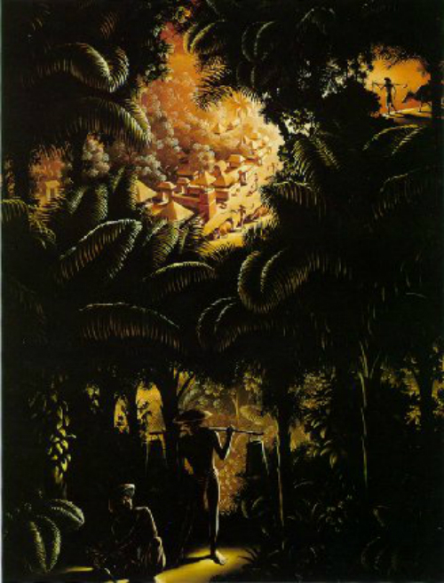 Pemandangan dari Pohn Palem (View through the Palms) (Cat minyak di atas kanvas, 1938) menggambarkan istana raksasa yang terlihat dari jarak jauh oleh seseorang yang membawa air. Lukisan ini juga dibuat saat Spies berada dalam penjara.