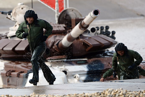 The tank biathlon team of the Venezuelan Army at the International Army Games 2015, Alabino base outside Moscow.