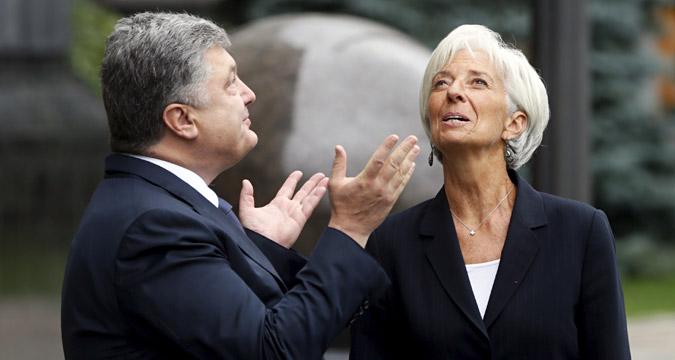 Le président ukrainien Petro Porochenko et la directrice générale du Fonds monétaire international (FMI) Christine Lagarde.