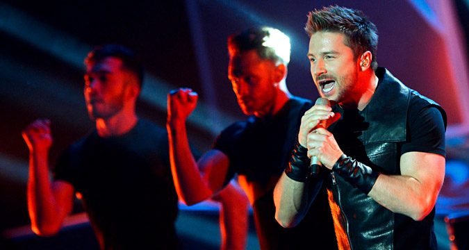 Sergei Lazarev performs at a concert by Concert by MUZ-TV 2015 Awards nominees and winners at Grand Kremlin Palace.