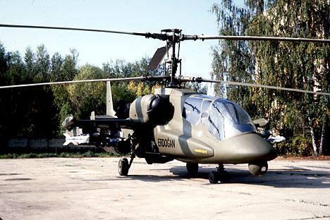 "Helikopter tempur pengintai Ka-50-2 ""Erdogan"" yang dikembangkan oleh ahli Rusia dan Israel dipamerkan dalam tender dengan pihak Turki. Helikopter ini dibuat berdasarkan Helikopter ""Hiu Hitam"" Rusia yang menggabungkan antara sistem aerodinamika terbaik dunia dengan avionik modern."