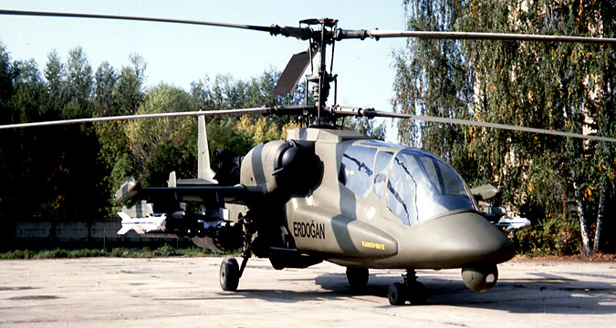 "The 2-seater ""Erdogan"" helicopter developed jointly by Russian and Israeli specialists was displayed at a tender in Turkey, 1999."
