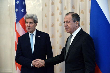 Russian Foreign Minister Sergey Lavrov meets with U.S. Secretary of State John Kerry.