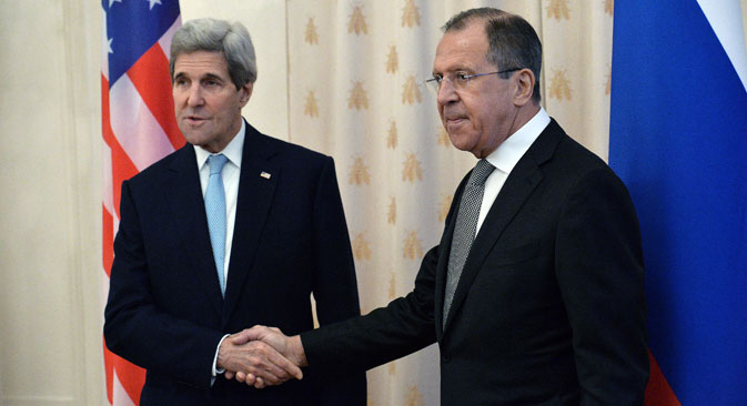 From right: Russian Foreign Minister Sergey Lavrov meets with the U.S. Secretary of State John Kerry in Moscow.
