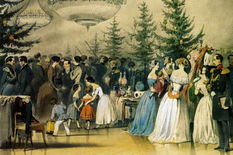 Cenas da vida familiar do imperador Nikolai I. Árvore de Natal no palácio Anitchkov