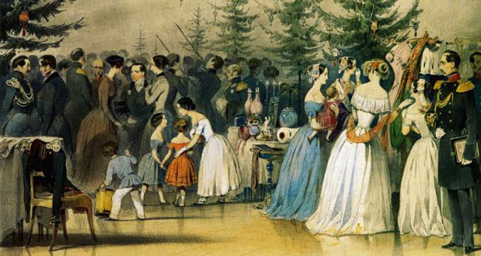 Prizori iz obiteljskog života cara Nikolaja I. Božićno drvce u palači Aničkov.