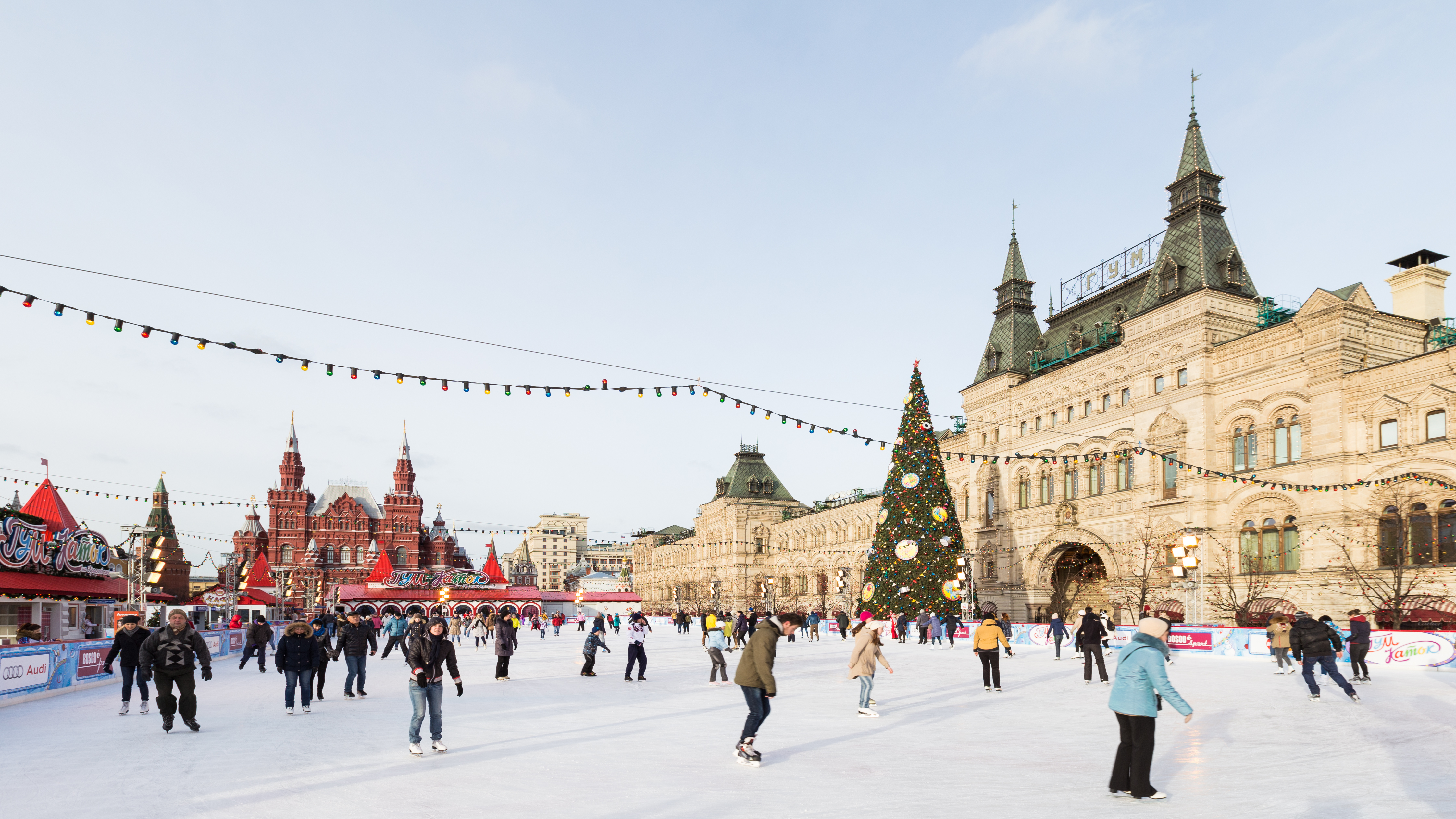 Every winter Red Square hosts ice skating rink.