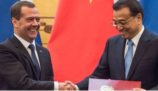 Russian Prime Minster Dmitry Medvedev and Chinese Premier of the State Council Li Keqiang.