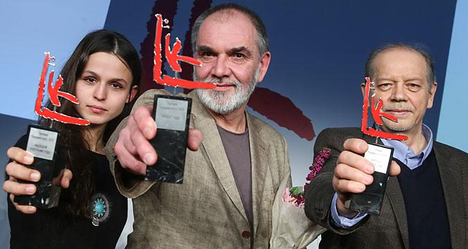 Olga Kroytor, Andrej Filippov e Valerij Podoroga, vincitori del premio Kandinskij per l'arte contemporanea