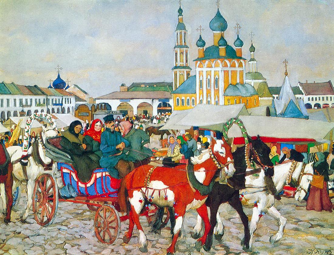 『ウグリチのトロイカ (馬車)』、コンスタンティン・ユオン、1913年。