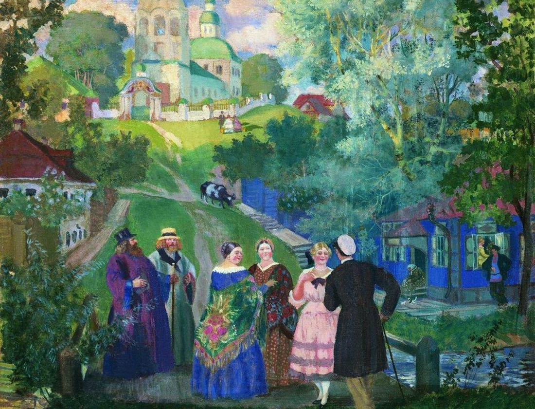 『夏の農村』、ボリス・クストーディエフ、1922年。