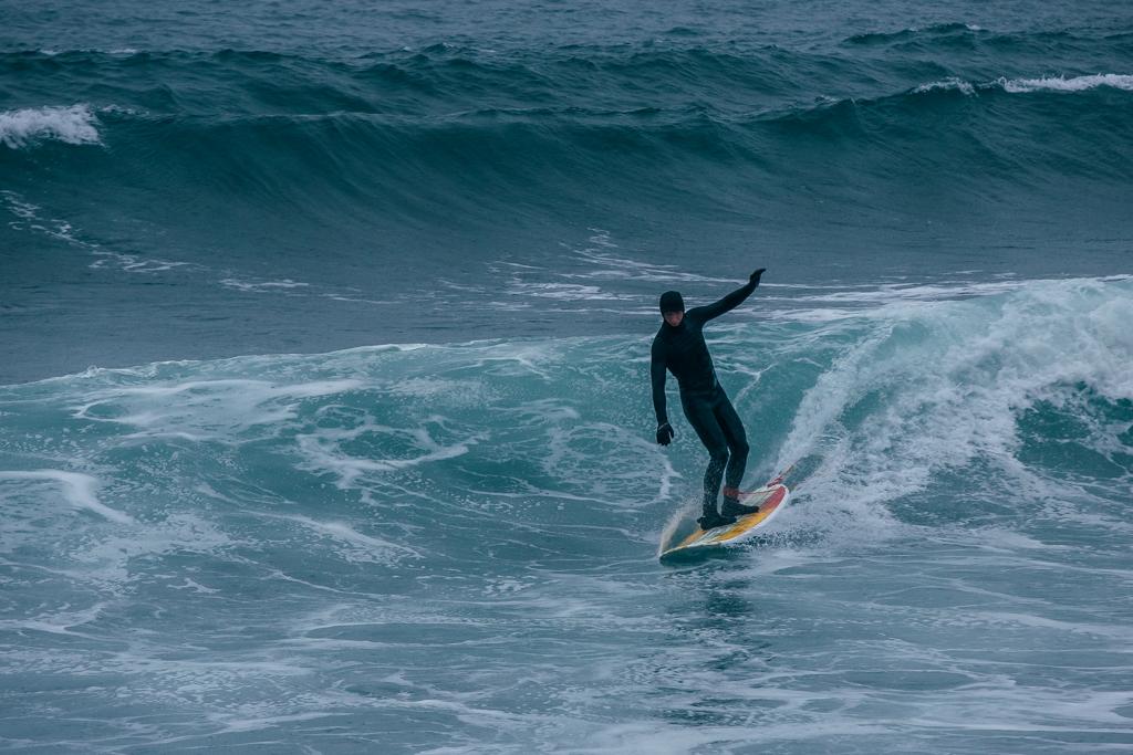 12月にサーフィン