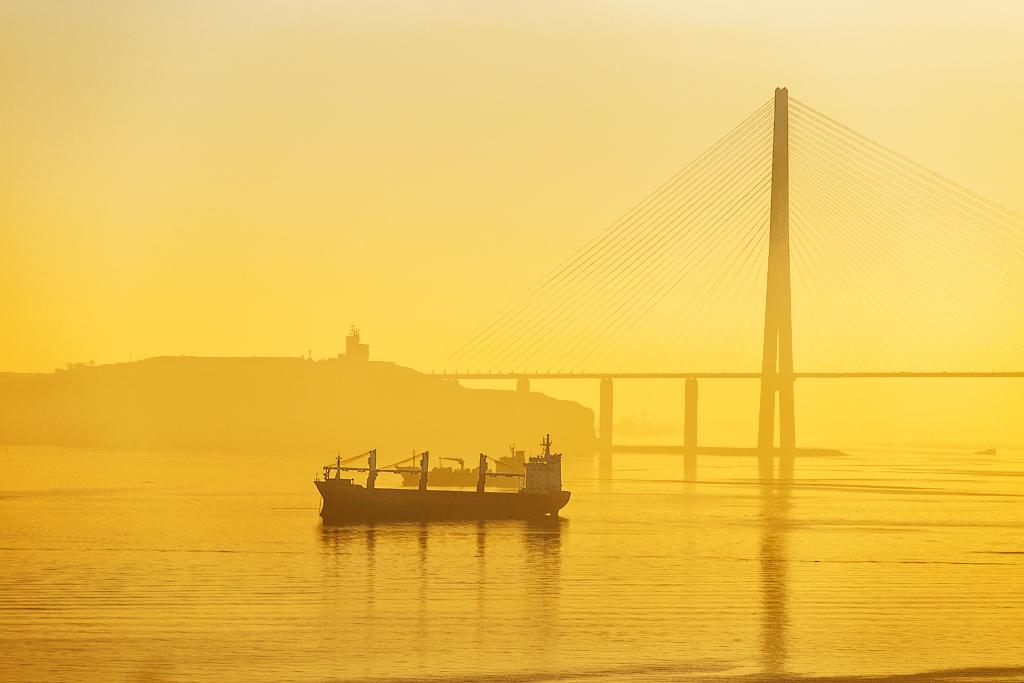 Brouillard jaune près du pont de la Corne d'Or au-dessus de la baie Zolotoï Rog.