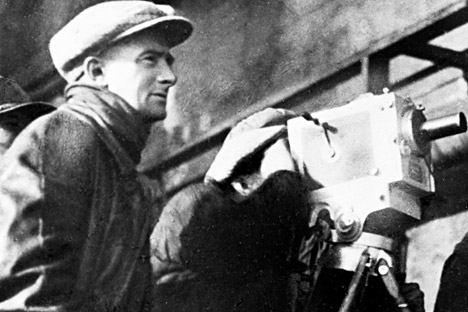 "Dziga Vertov at the shooting of a film. A still from the documentary ""The Gameless World""."